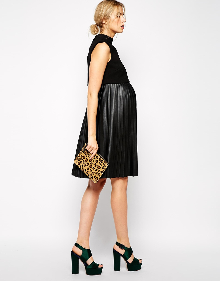 Lyst asos pleated midi skater dress in leather look with shell gallery ombrellifo Images