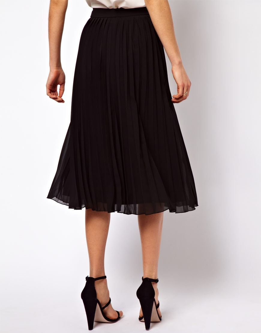 7dacb7797965a8 ASOS Pleated Midi Skirt in Black - Lyst