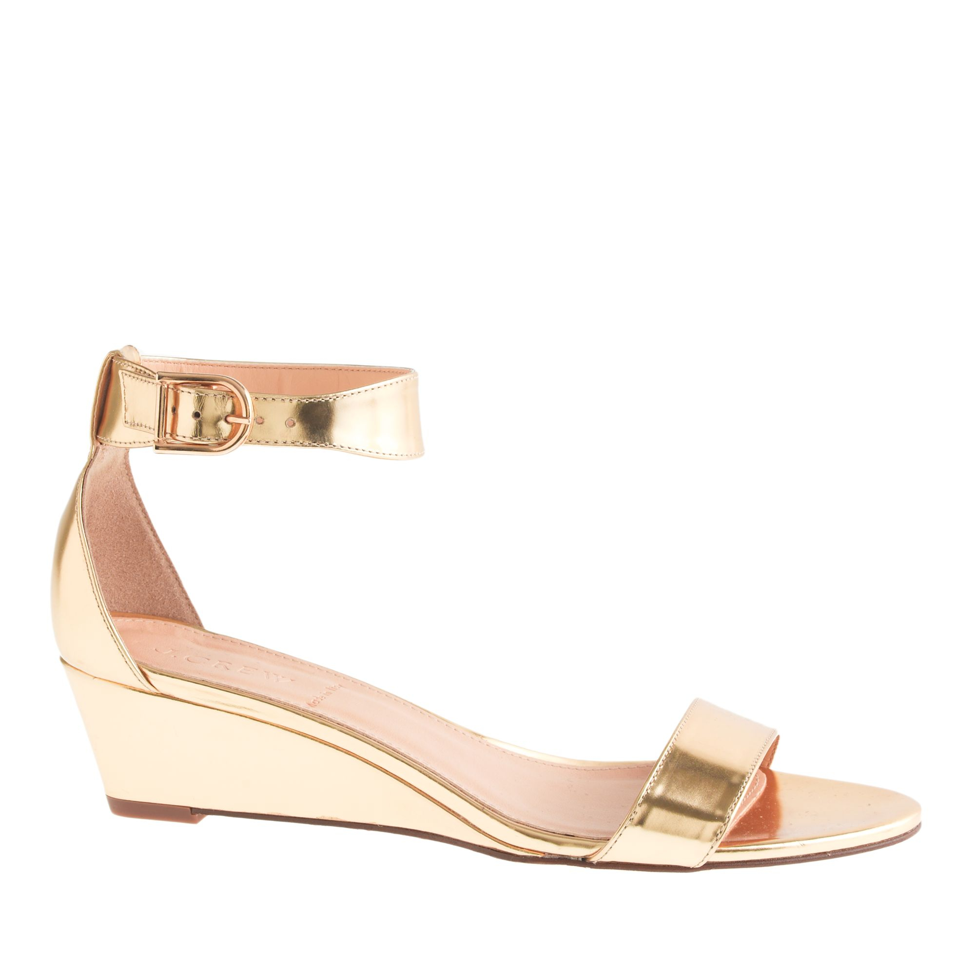 j crew lillian mirror metallic low wedges in gold