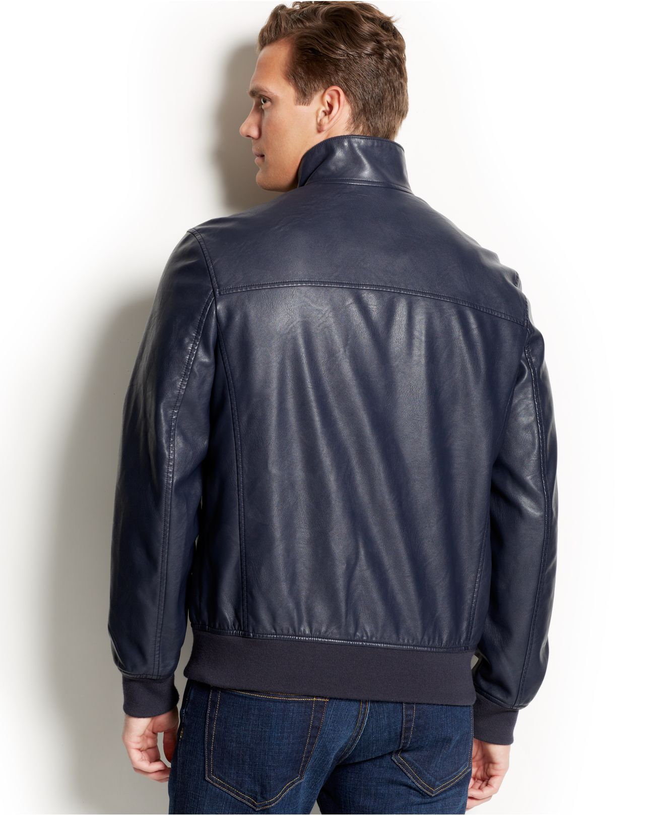 Tommy hilfiger Faux Leather Bomber Jacket in Blue for Men | Lyst