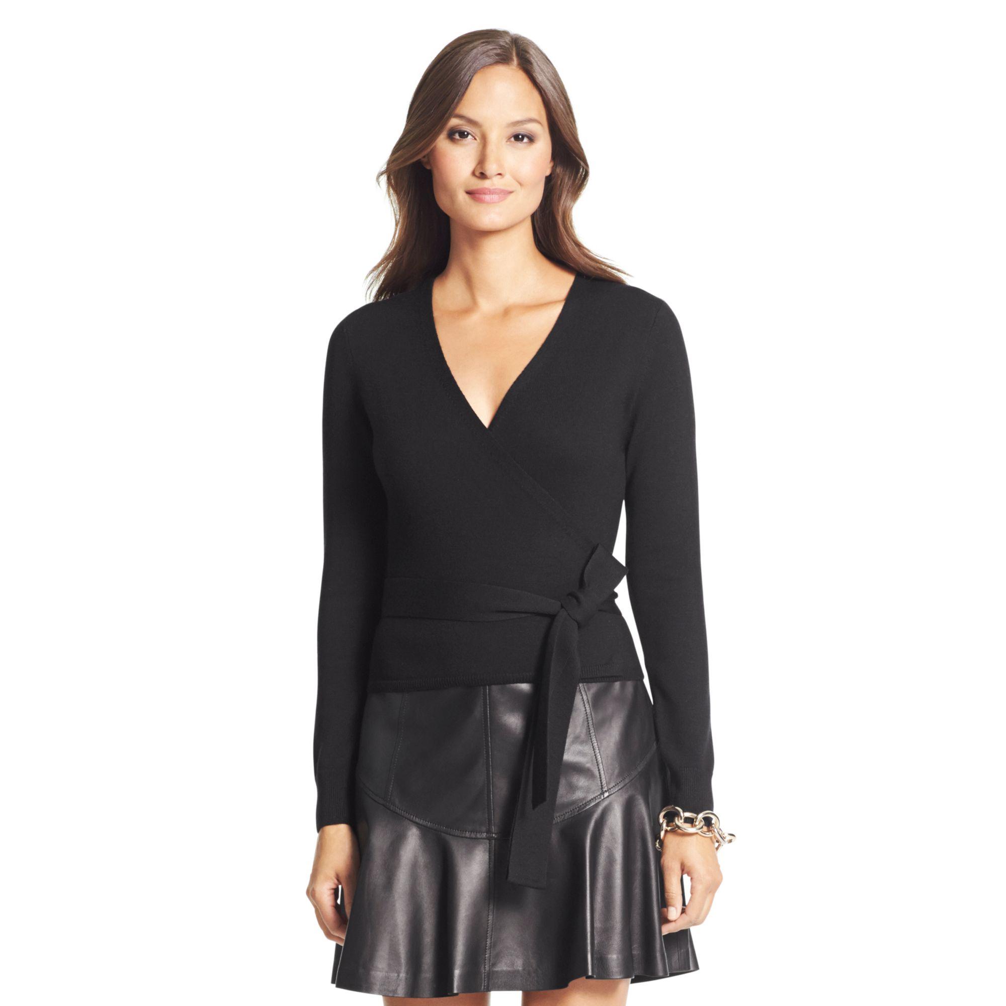 9bcb137ed2 Diane von Furstenberg Ballerina Wool Wrap Sweater in Black - Lyst