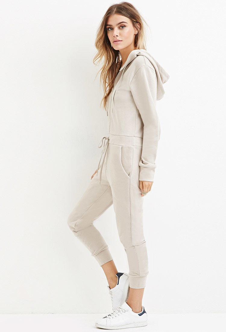 0e85817ff8b Forever 21 French Terry Hoodie Jumpsuit in Natural - Lyst