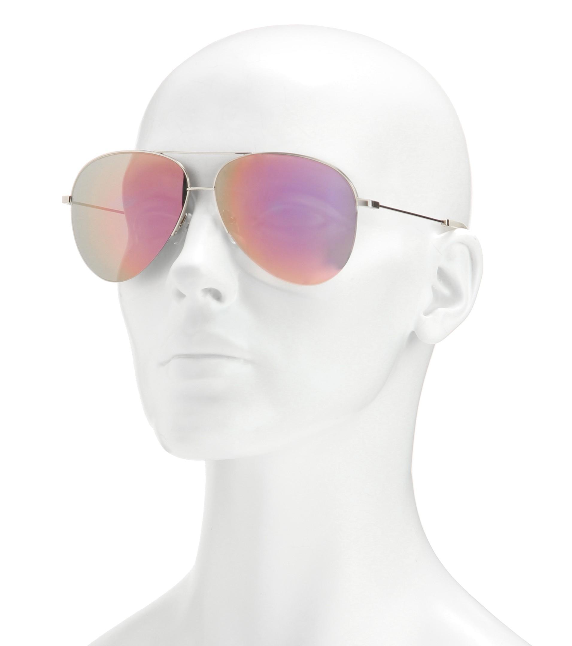 Lyst - Victoria Beckham Classic Victoria Mirrored Sunglasses in Natural 69f3567589