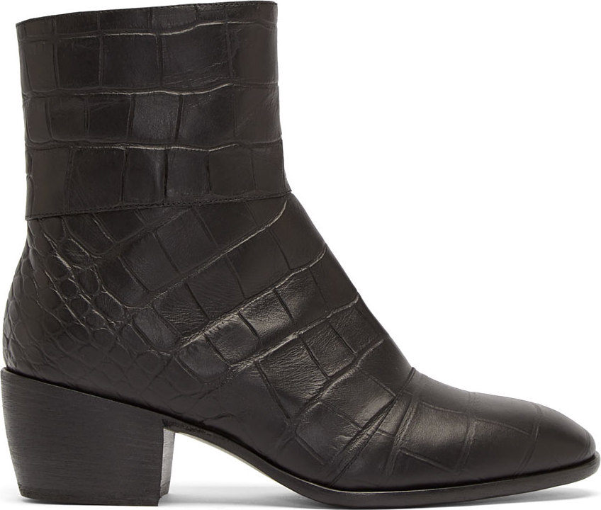 giuseppe zanotti black leather croc embossed boots in