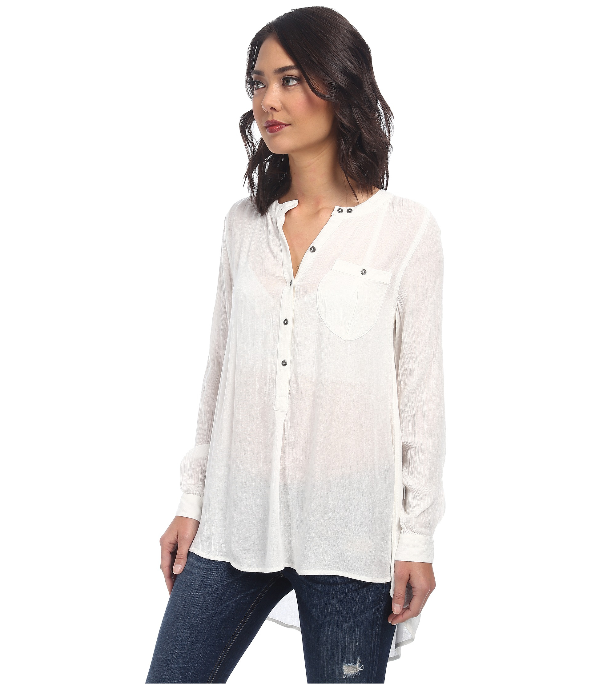 6ce4f414 Free People Solid Rayon Gauze Boyfriend Button Down in White - Lyst