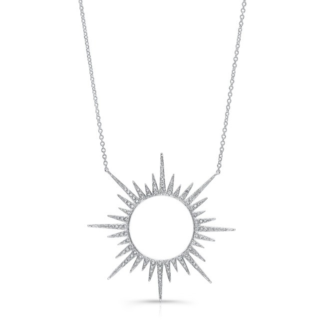 Lyst anne sisteron 14kt white gold diamond open sunburst necklace anne sisteron womens 14kt white gold diamond open sunburst necklace aloadofball Images
