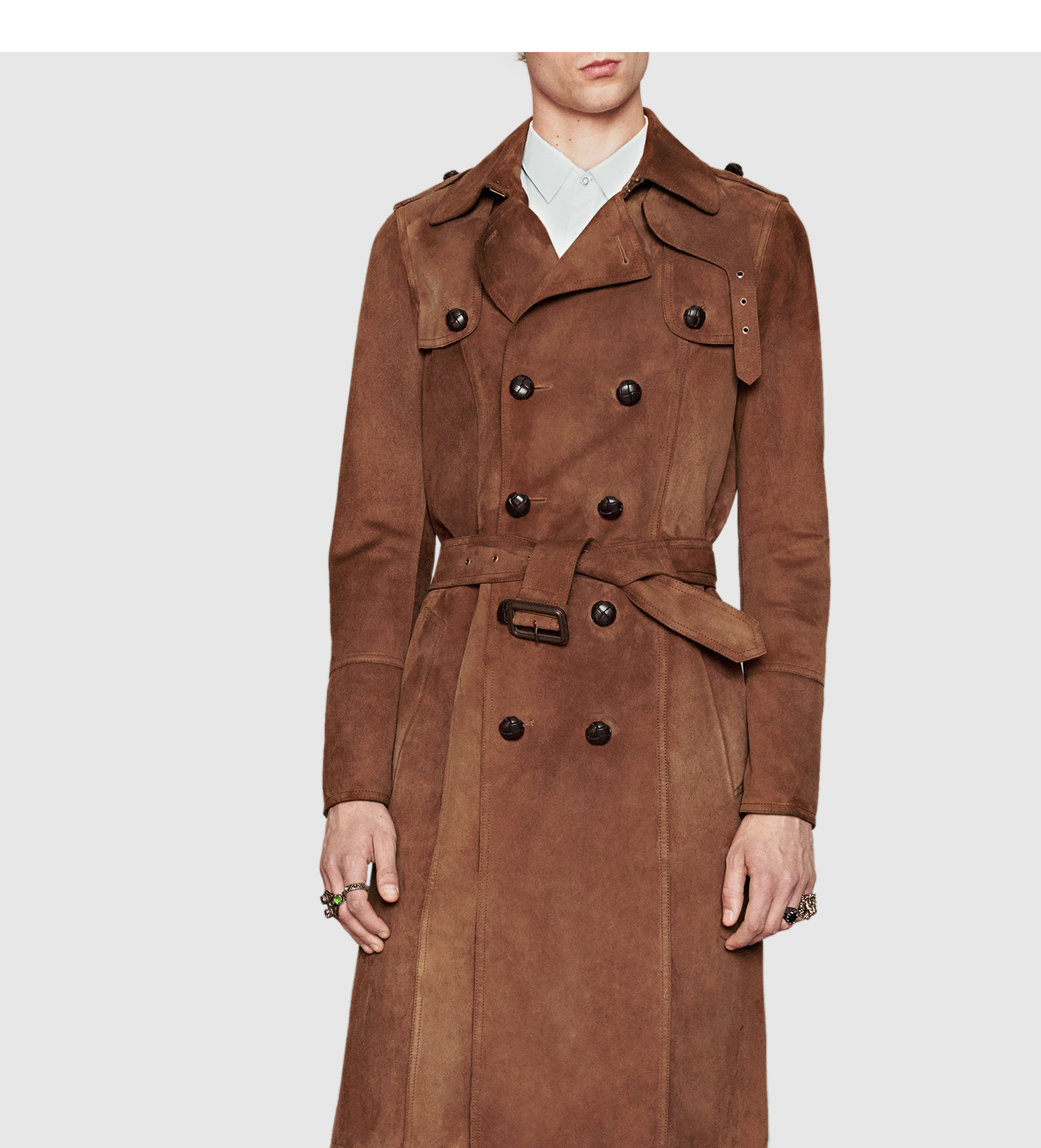 fab92c890 Gucci Suede Trench Coat in Brown for Men - Lyst