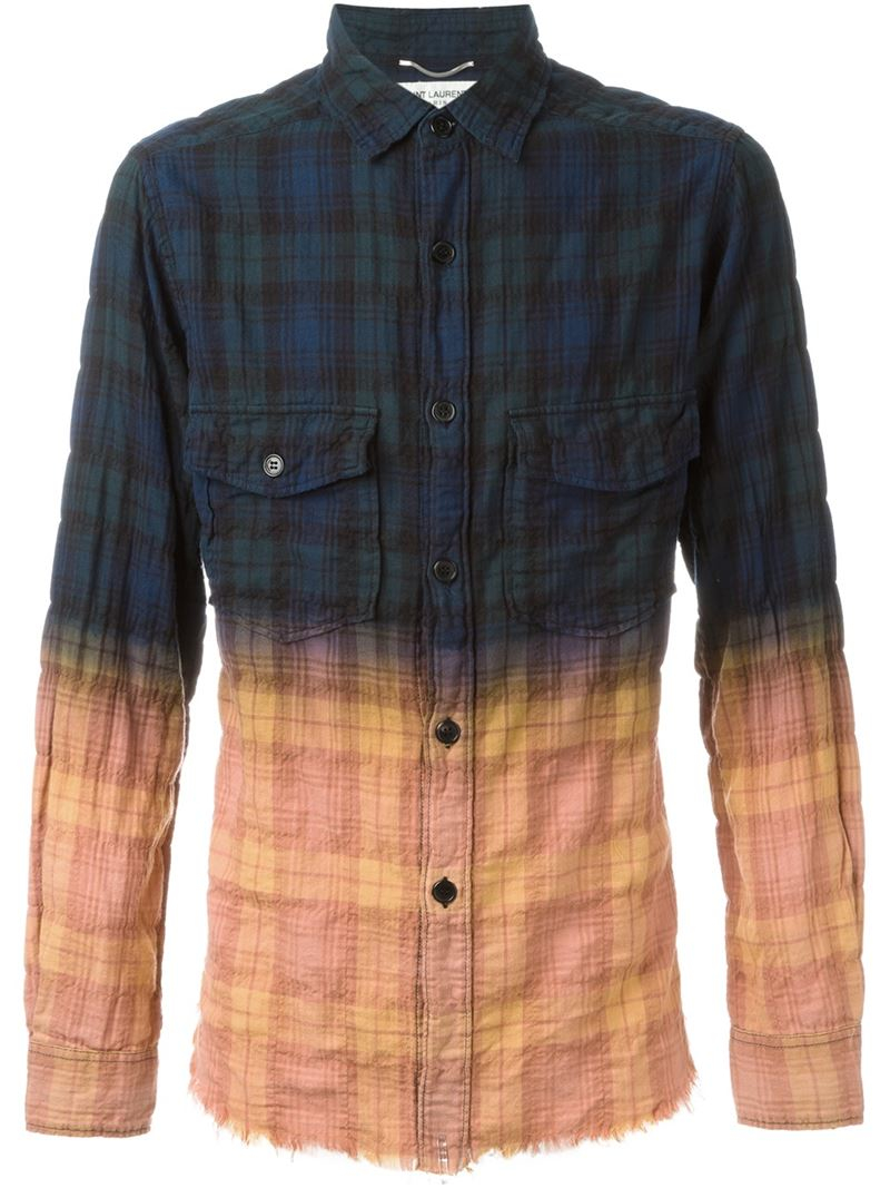 Lyst saint laurent checked tie dye shirt for men for Saint laurent check shirt