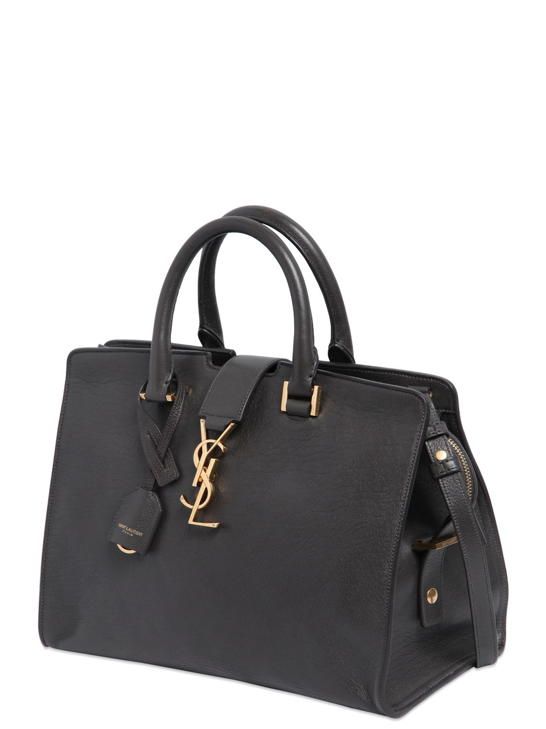 Lyst - Saint Laurent Small Cabas Monogram Leather Bag in Gray f5bf41491acc8