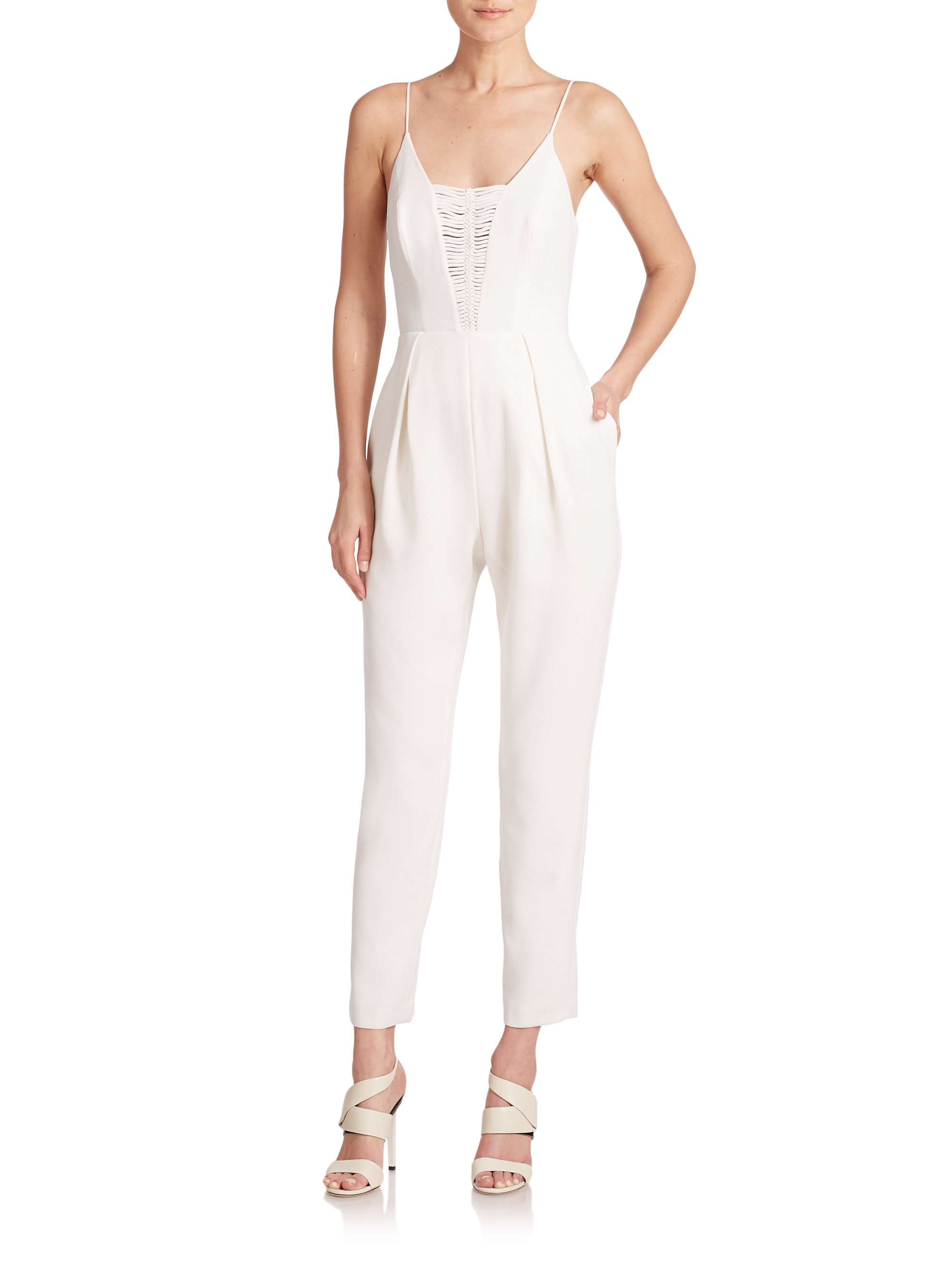 f3ac416e739 Lyst - Zimmermann Braid-detail Crepe Jumpsuit in White