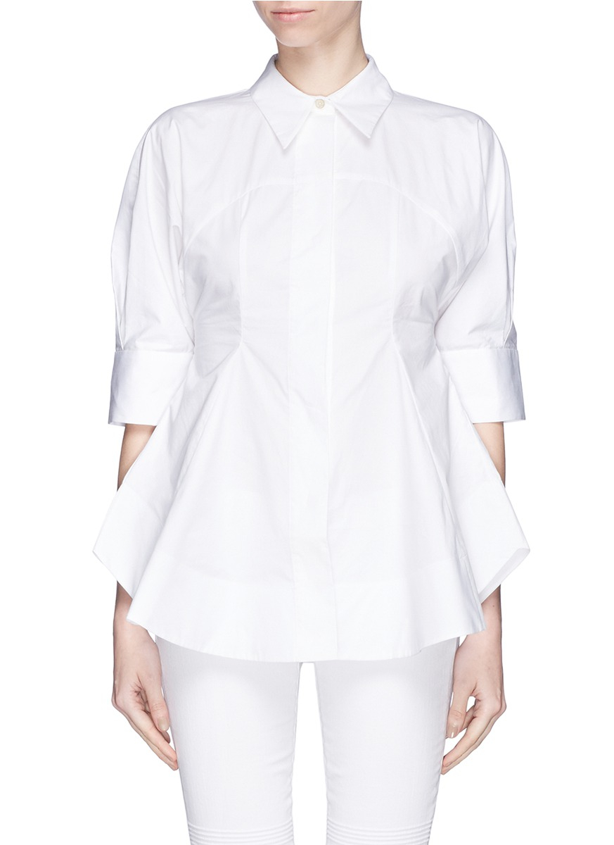 Lyst edition10 cotton poplin flare shirt in white for What is a poplin shirt