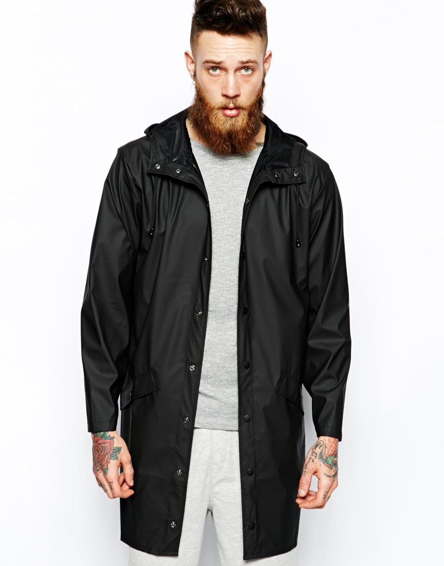 Rains Long Jacket in Black for Men | Lyst
