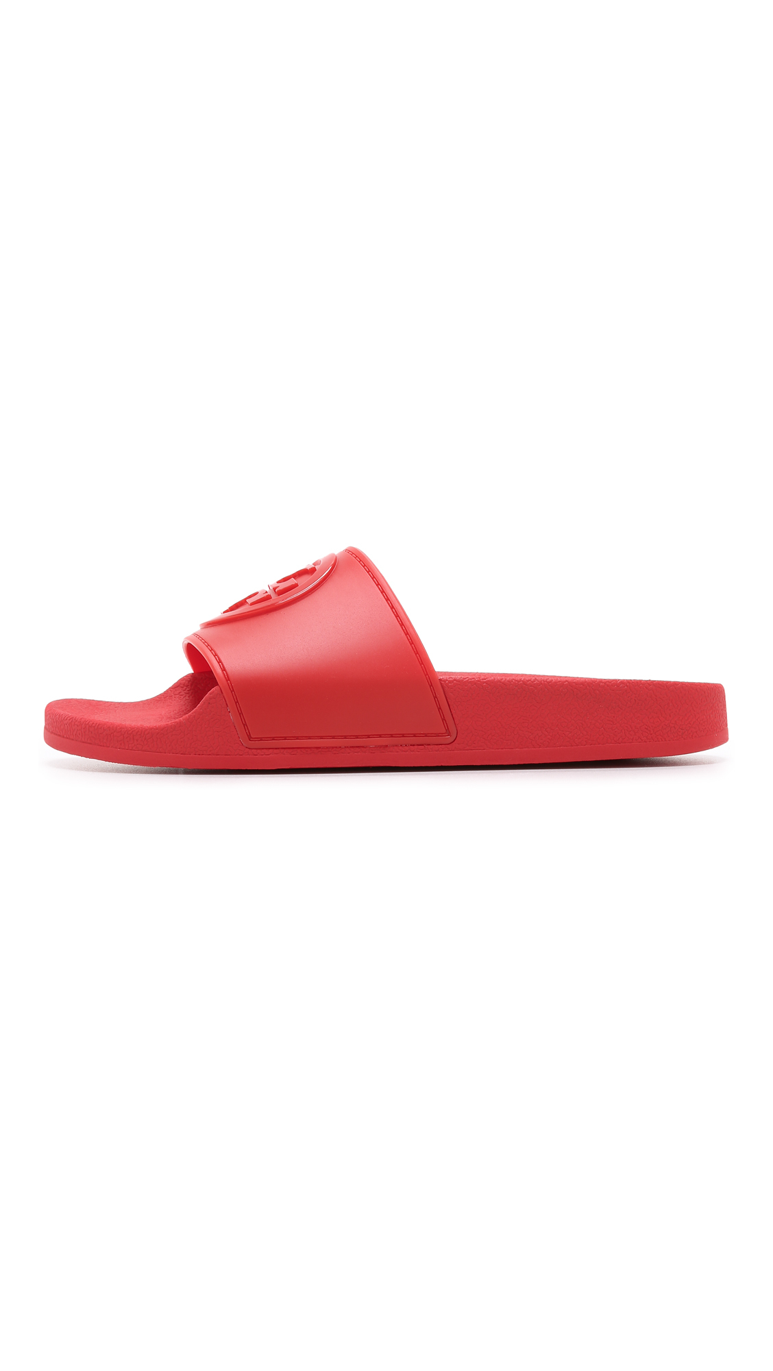 a5d980aec Lyst - Tory Burch Jelly Flat Slides in Red