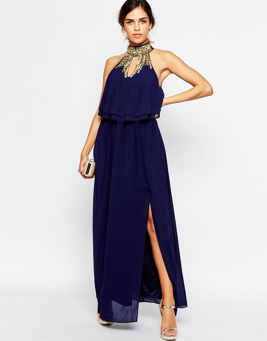 b4ddcac017 Lyst - TFNC London Embellished High Neck Tierred Maxi Dress in Blue