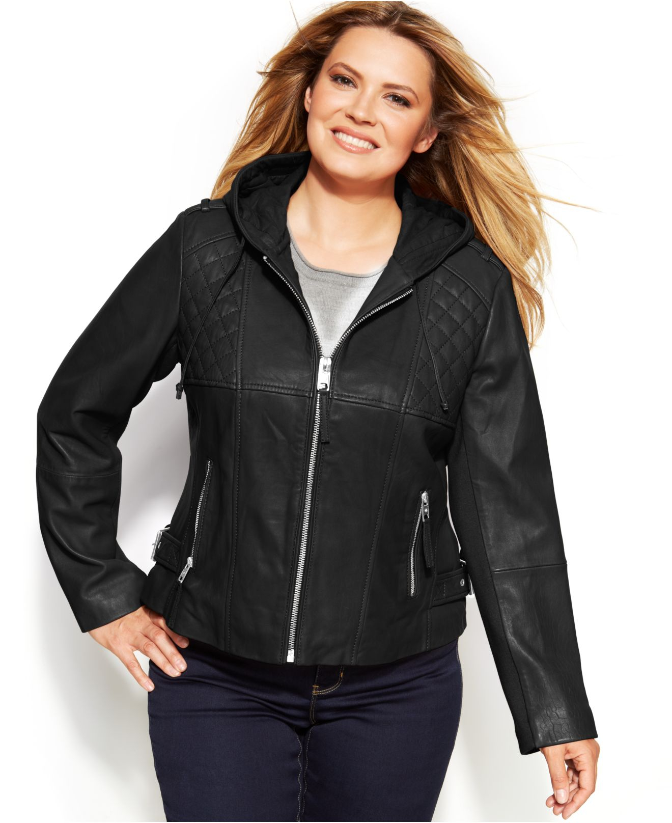 michael kors michael plus size knit-inset hooded leather jacket in
