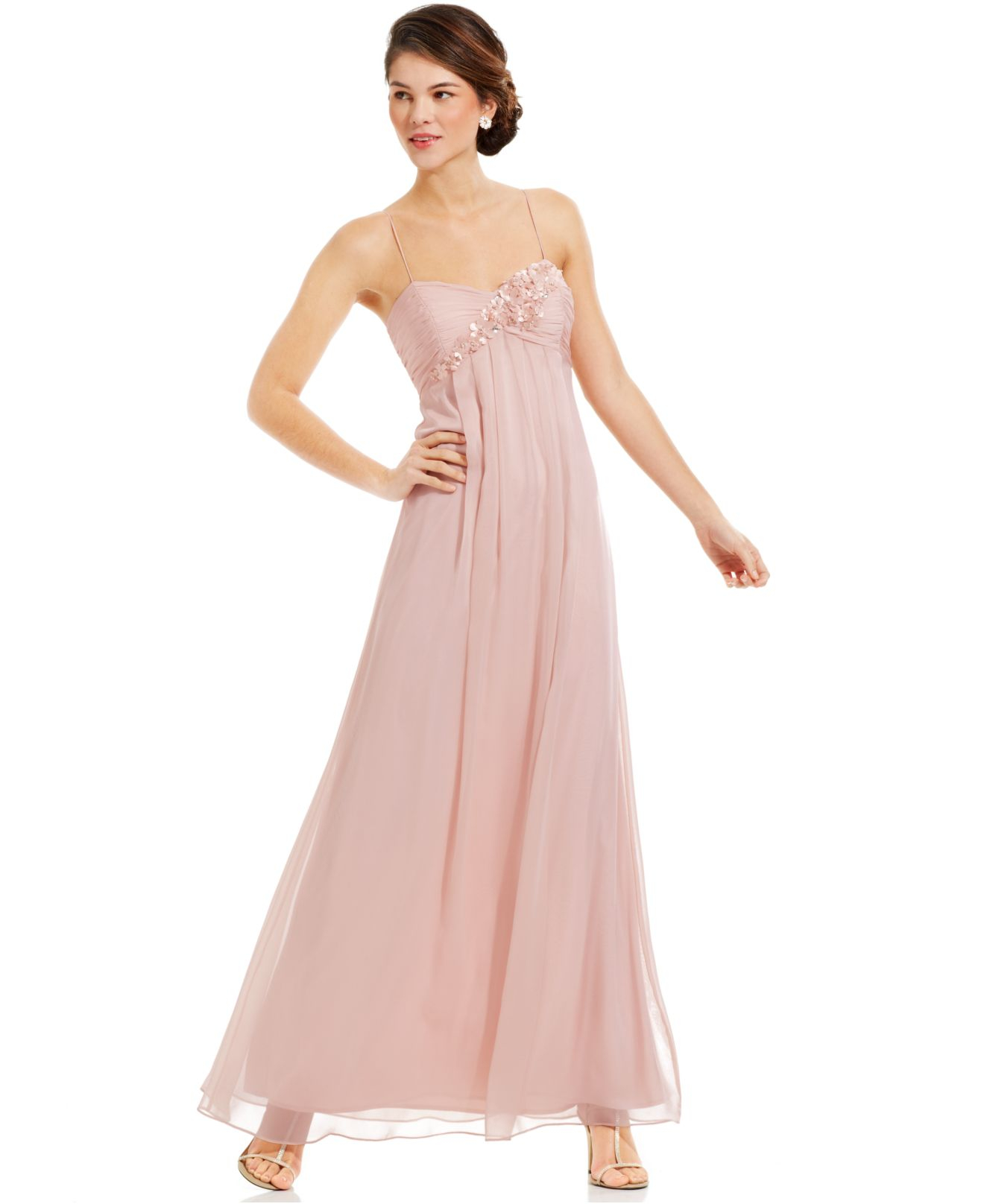 Lyst - Adrianna Papell Sleeveless Floral-applique Gown in Pink