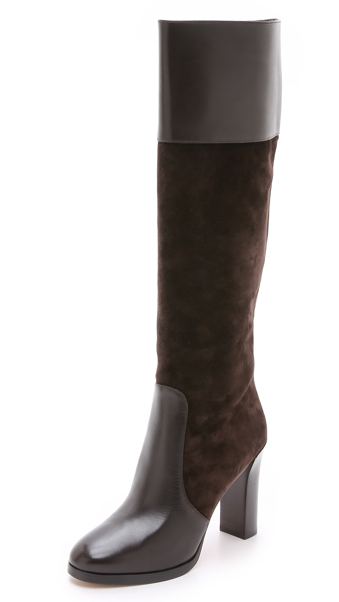 michael kors daryl knee boots in brown lyst