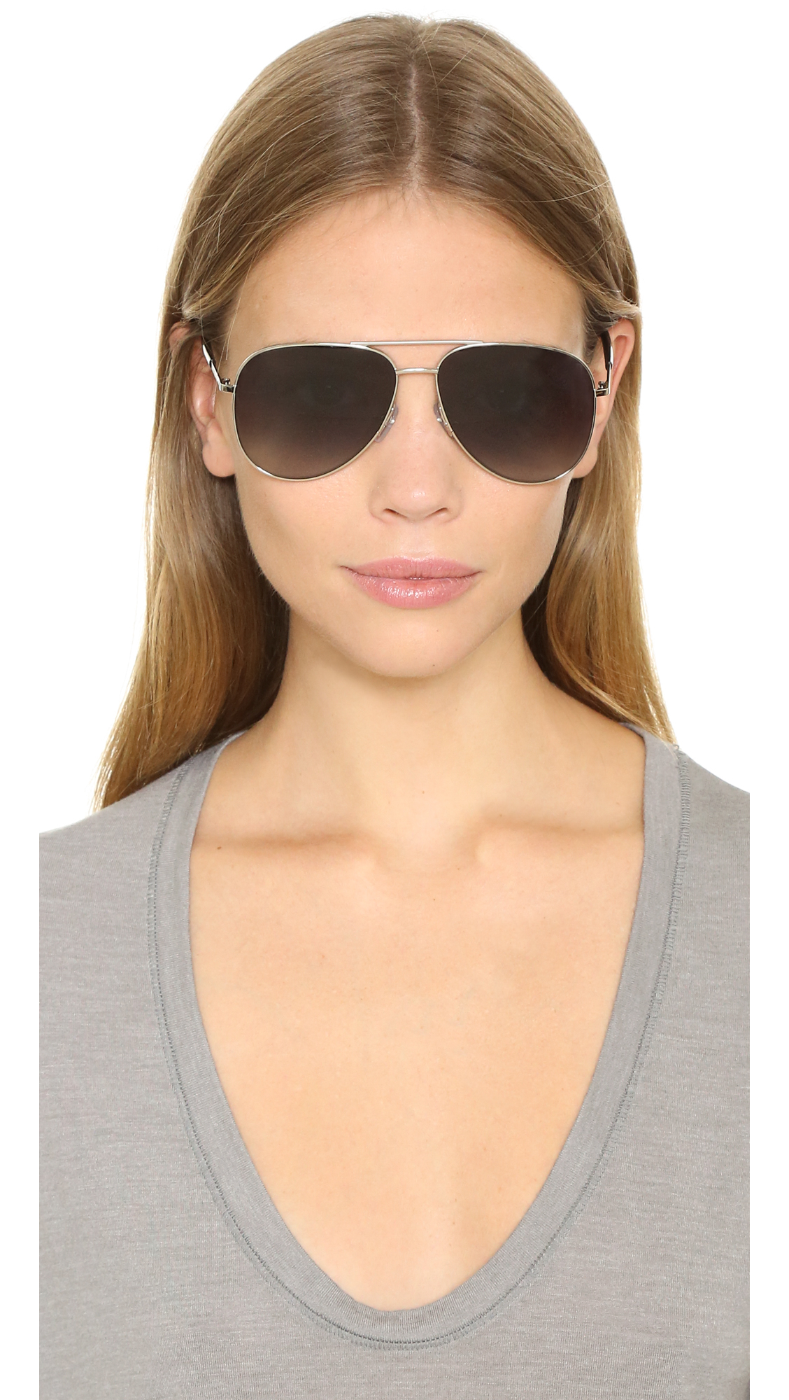 Marc Jacobs Aviator Sunglasses  marc jacobs aviator sunglasses in metallic lyst