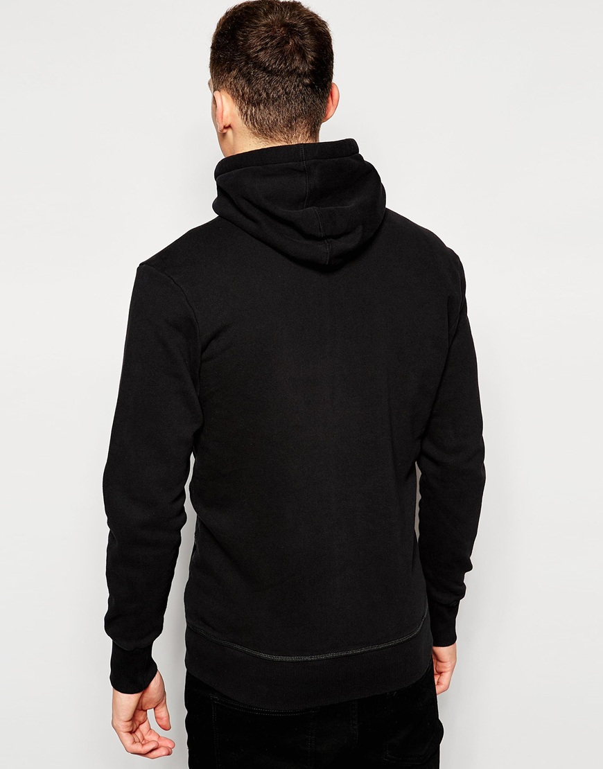 star raw black hoodie zipthru sweatshirt gunner logo front for men. Black Bedroom Furniture Sets. Home Design Ideas