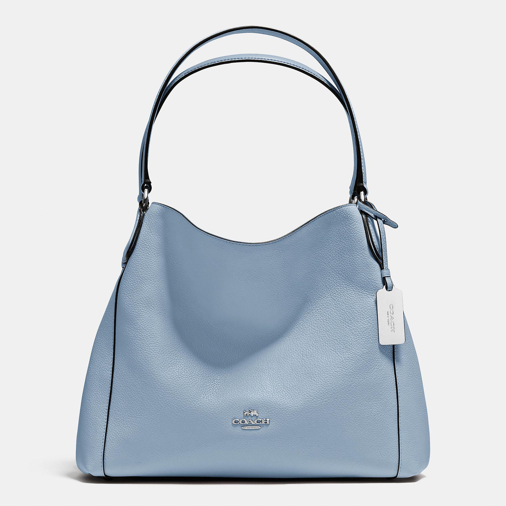 dda74e9487 COACH Edie Shoulder Bag 31 In Refined Pebble Leather in Blue - Lyst
