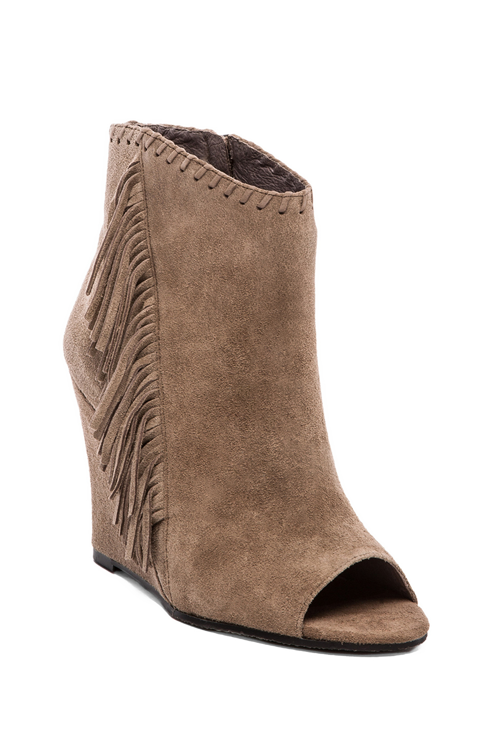 Lyst Vince Camuto Tecca Fringe Bootie In Taupe In Brown