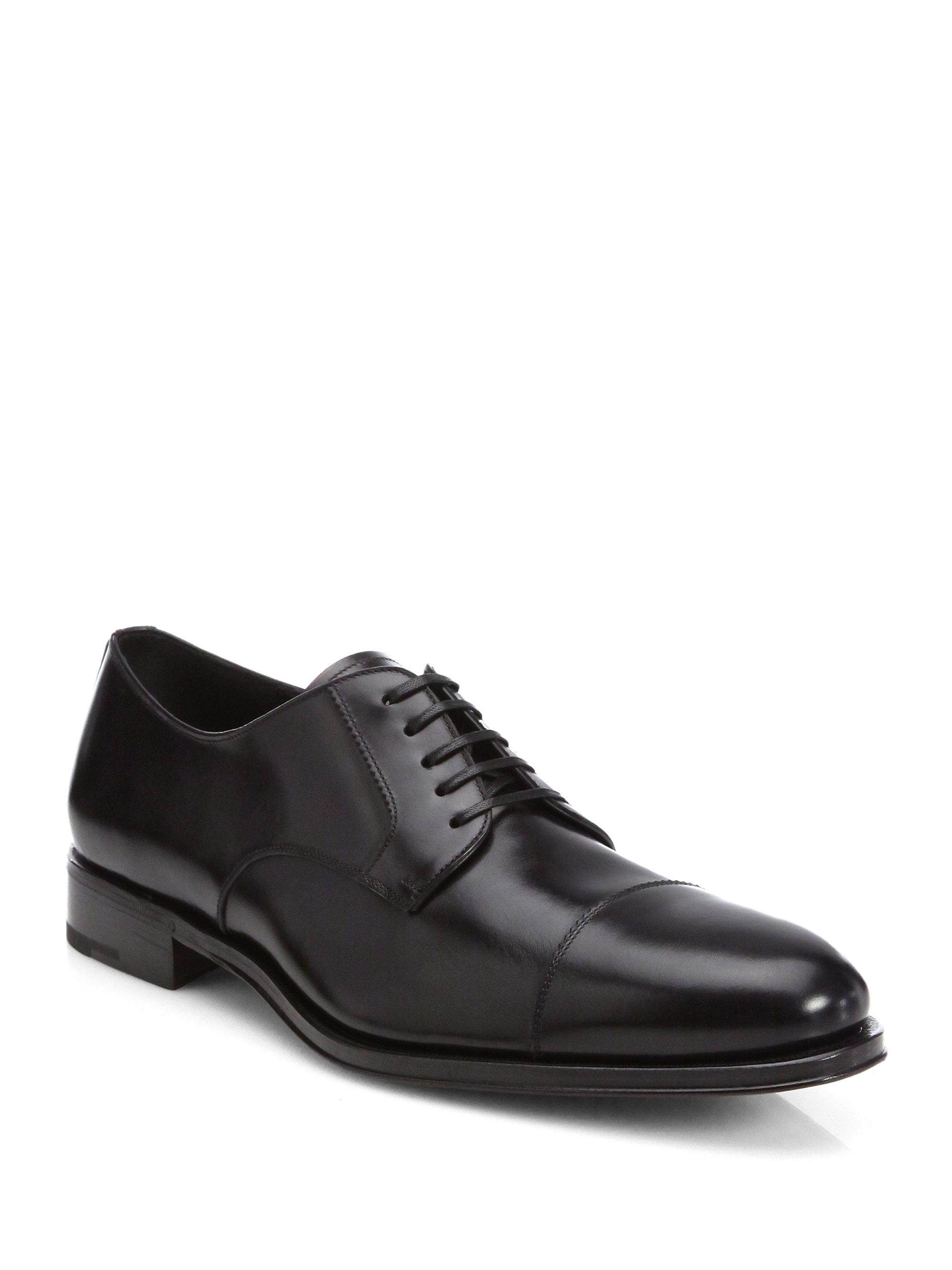 ferragamo rand cap toe derby shoes in black for lyst