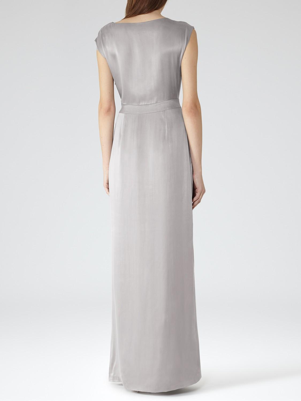 Lyst Reiss Silk Hera Maxi Belted Dress In Gray