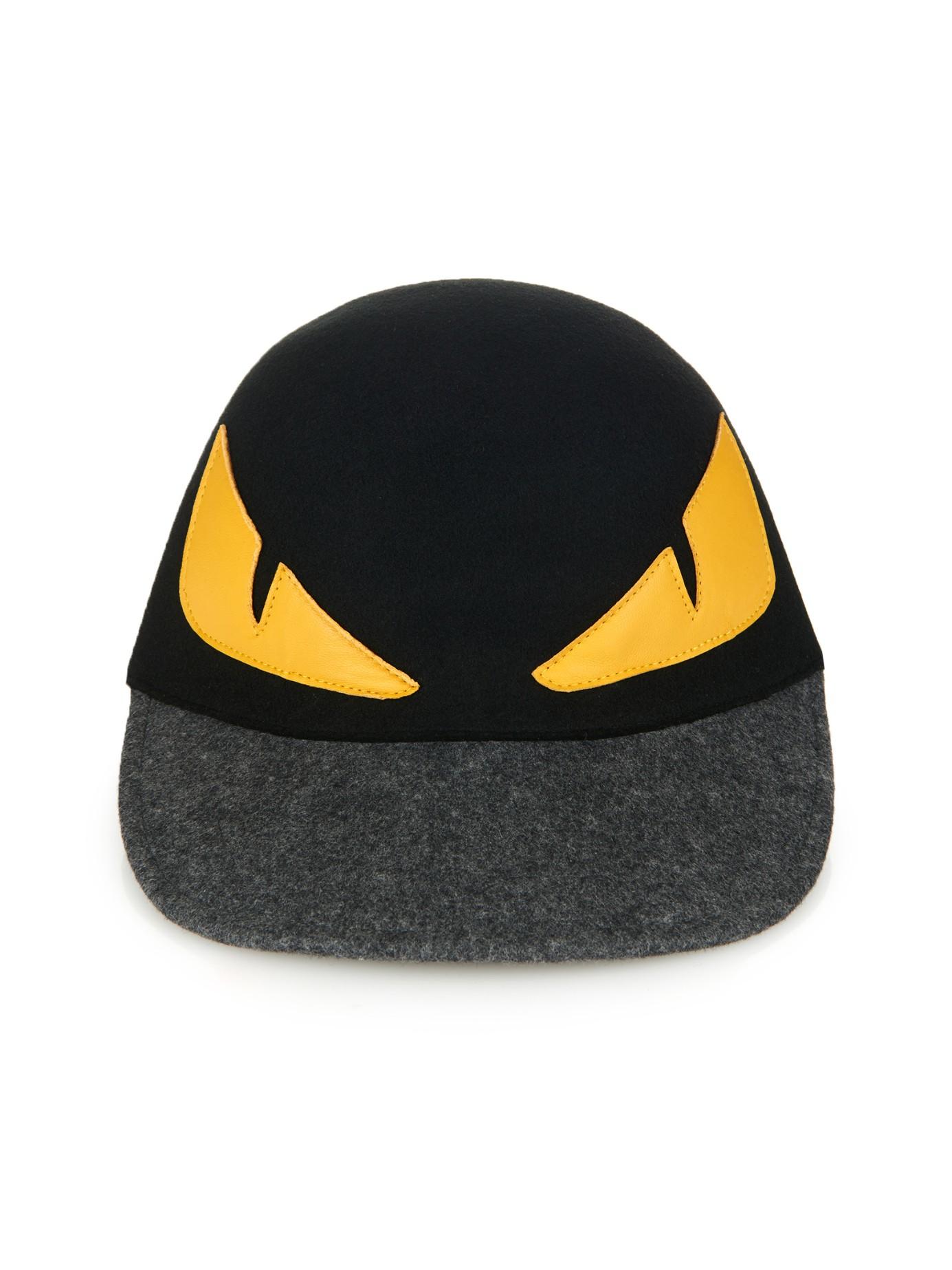 Lyst - Fendi Monster Eyes Wool-Felt Cap in Black for Men 36a821a259f