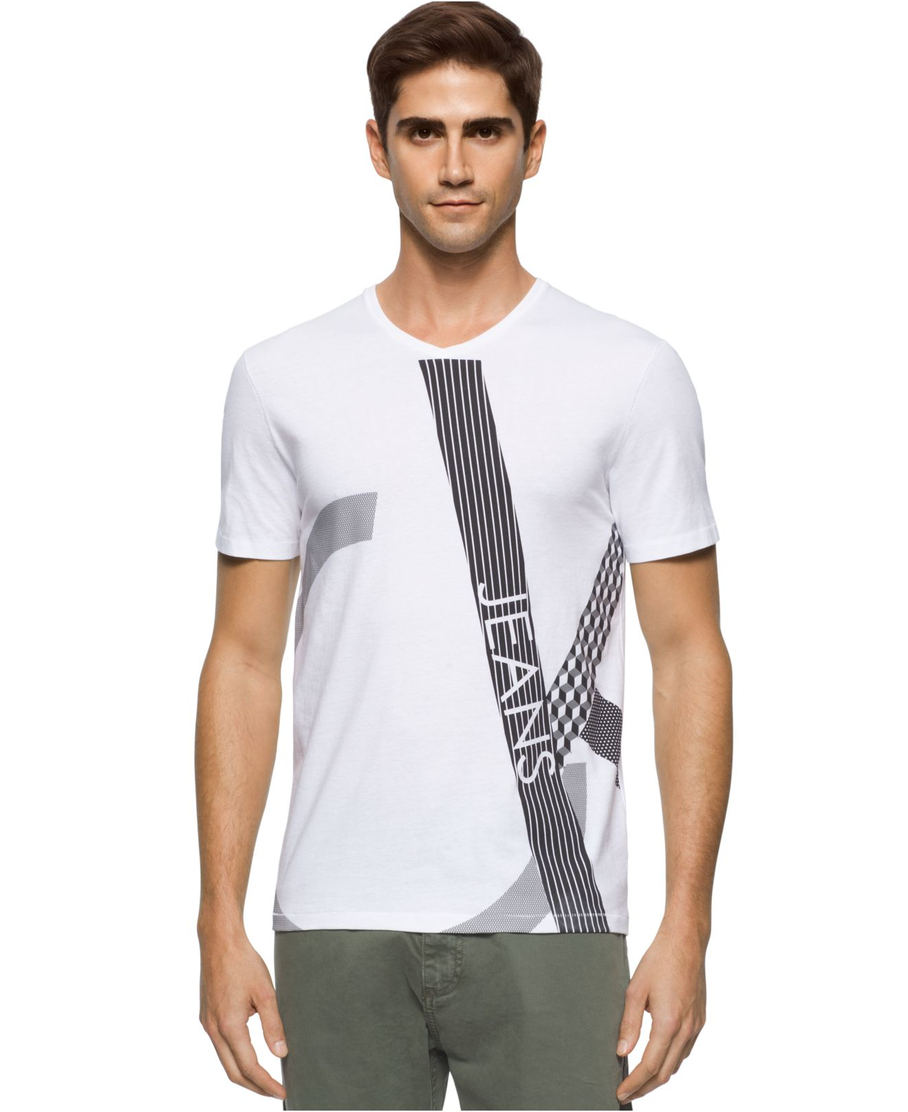 lyst calvin klein jeans men 39 s texture play graphic print logo v neck t shirt in white for men. Black Bedroom Furniture Sets. Home Design Ideas