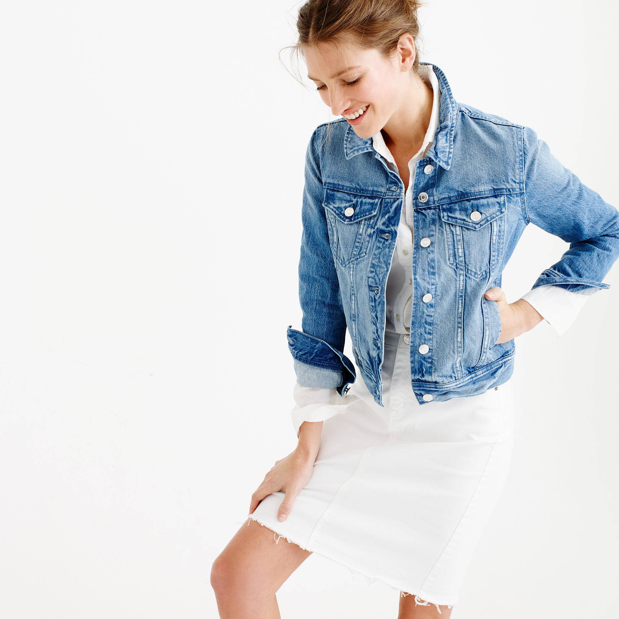 Jcrew Denim Jacket In Holston Wash In Blue  Lyst-6310