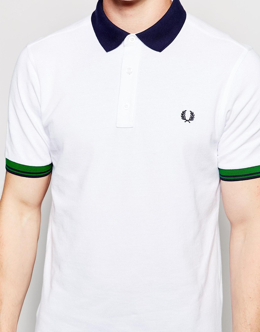 Lyst fred perry polo shirt with color block in white in for Polo color block shirt
