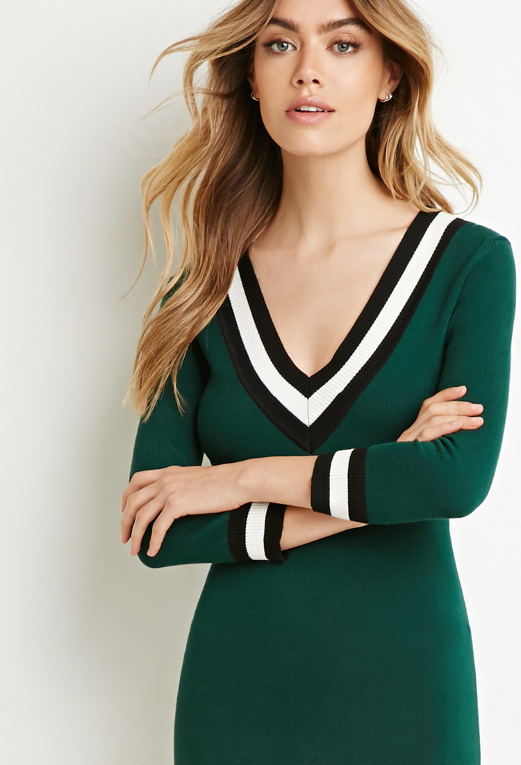 f86f517470f Forever 21 Varsity-striped Sweater Dress in Green - Lyst