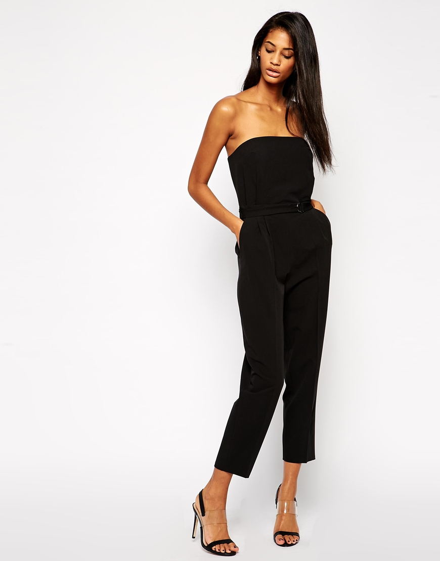 Asos Bandeau Jumpsuit With D-ring Belt in Black | Lyst