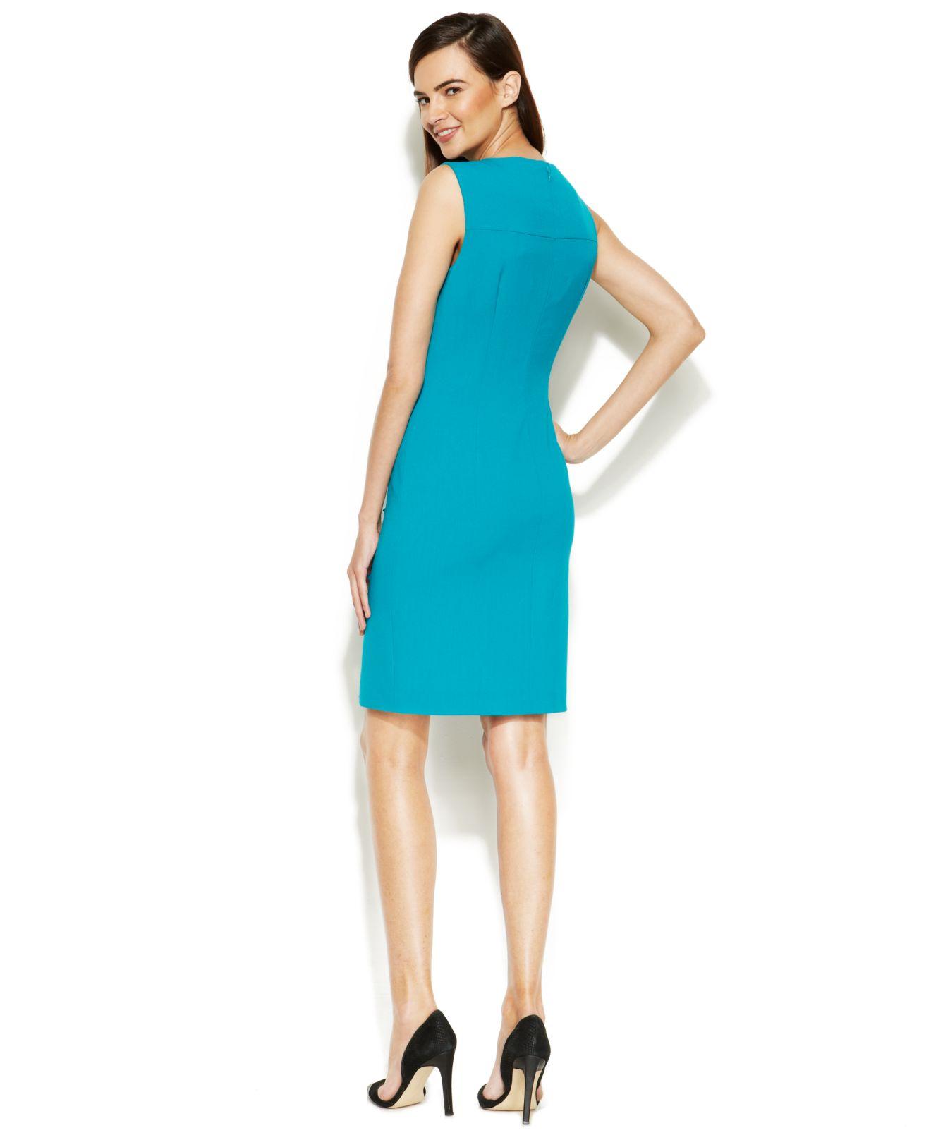 Lyst - Calvin Klein Sleeveless Side-Button Sheath in Green
