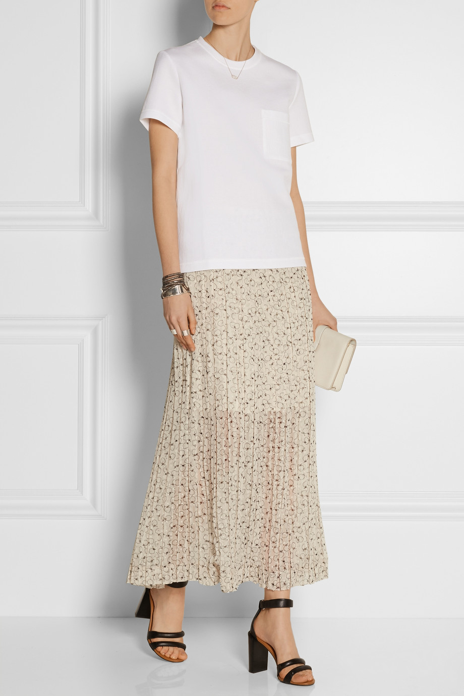 see by chlo 233 printed fil coup 233 chiffon maxi skirt in white