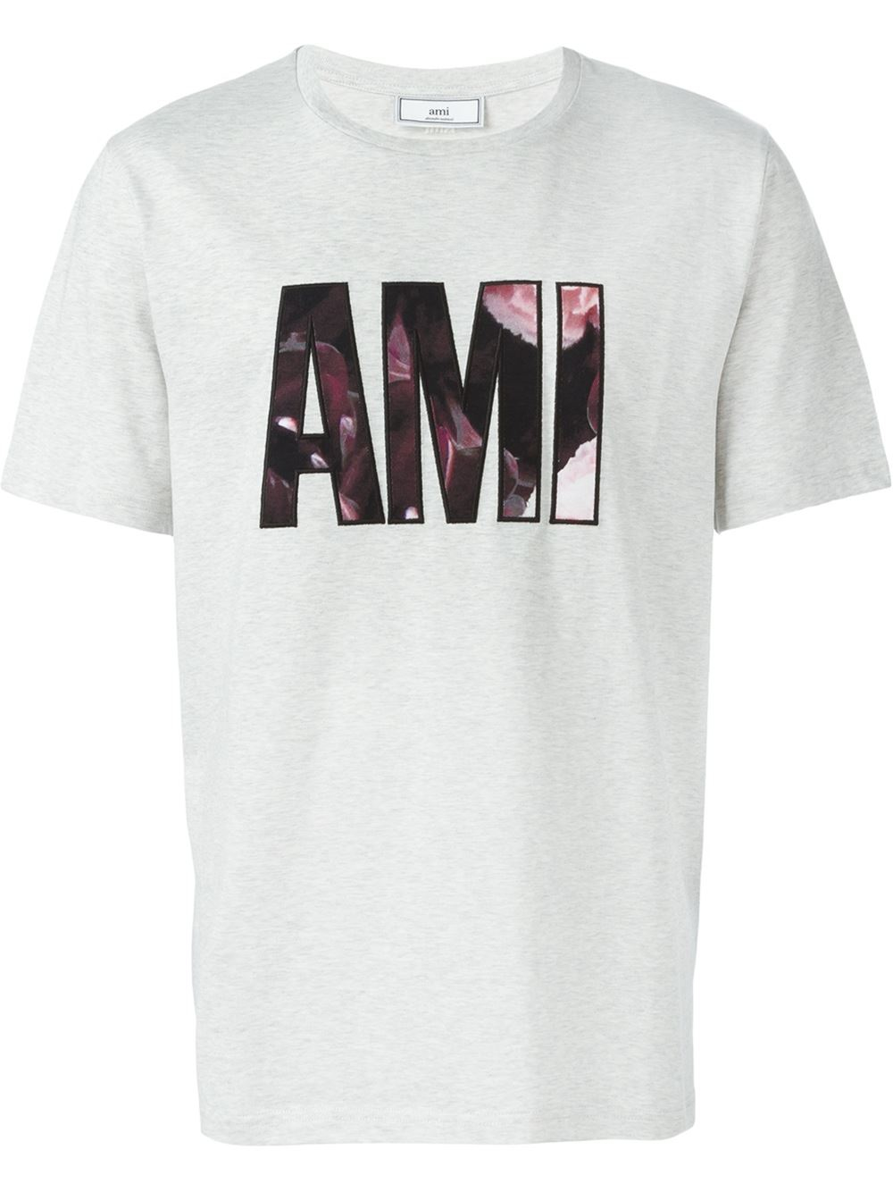 Lyst ami logo print t shirt in gray for men for Tee shirt logo printing