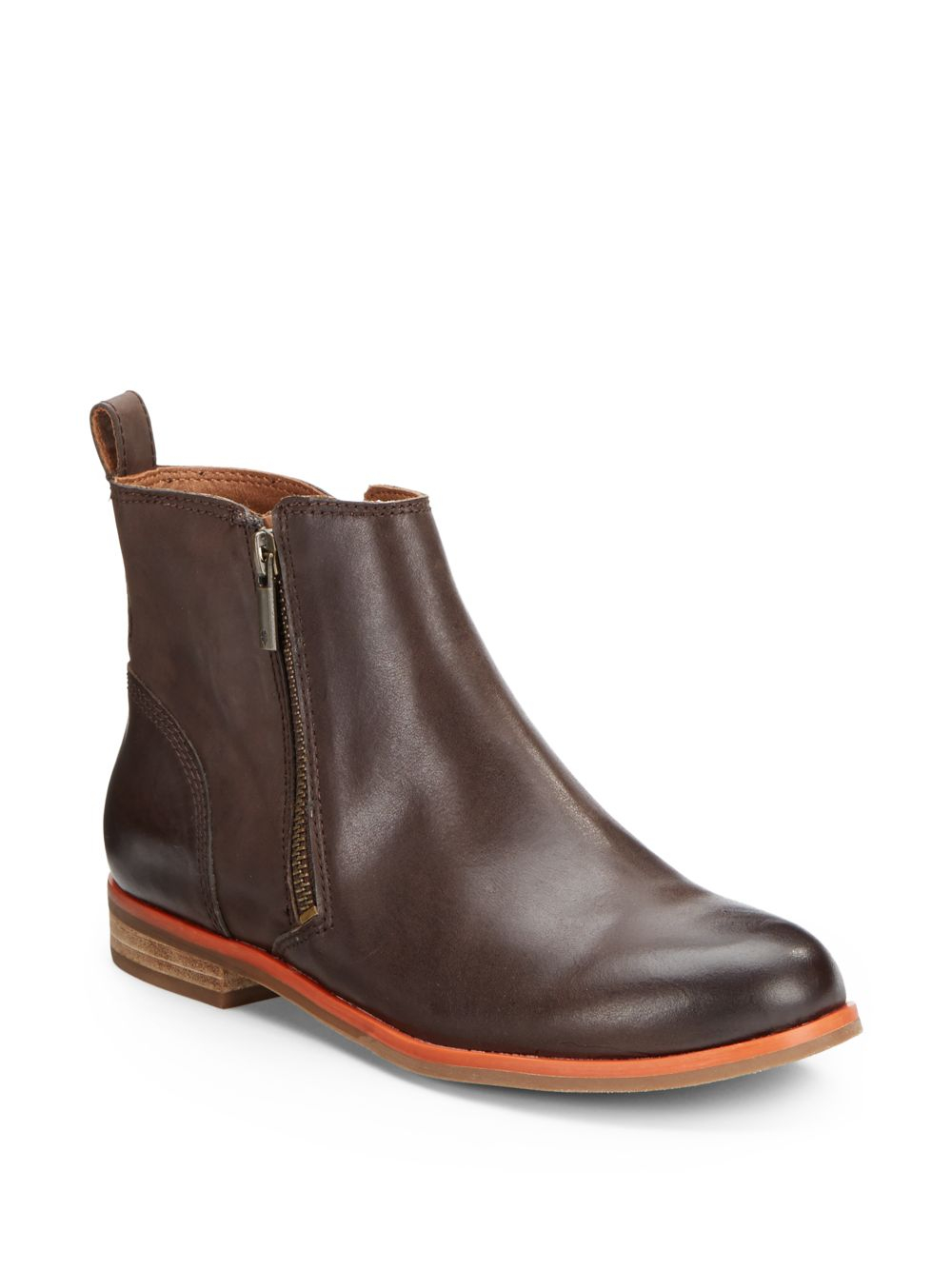 Lyst Lucky Brand Dalia Sidezip Leather Ankle Boots In Brown