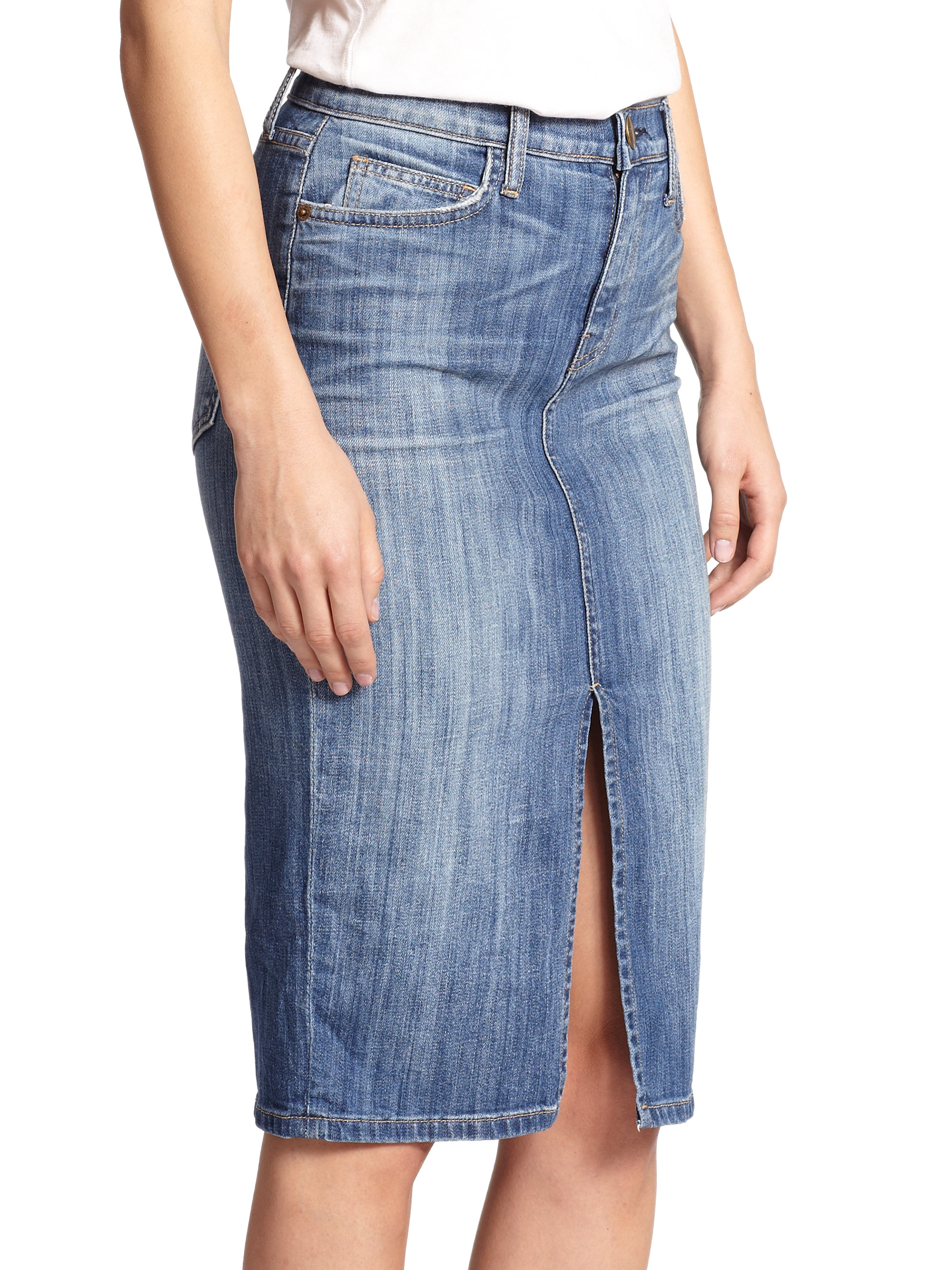 high waisted denim pencil skirt lyst current elliott high waist denim pencil skirt in blue 8405