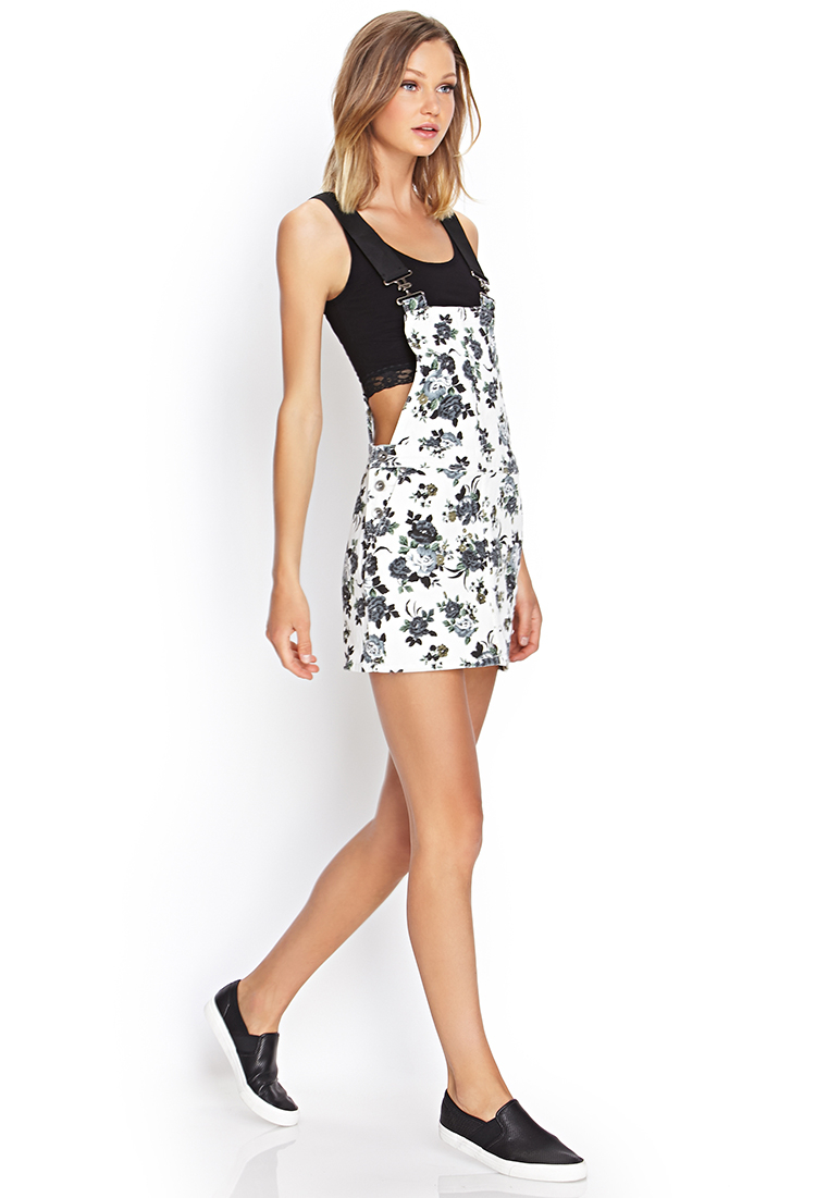 lyst forever 21 floral denim overall dress