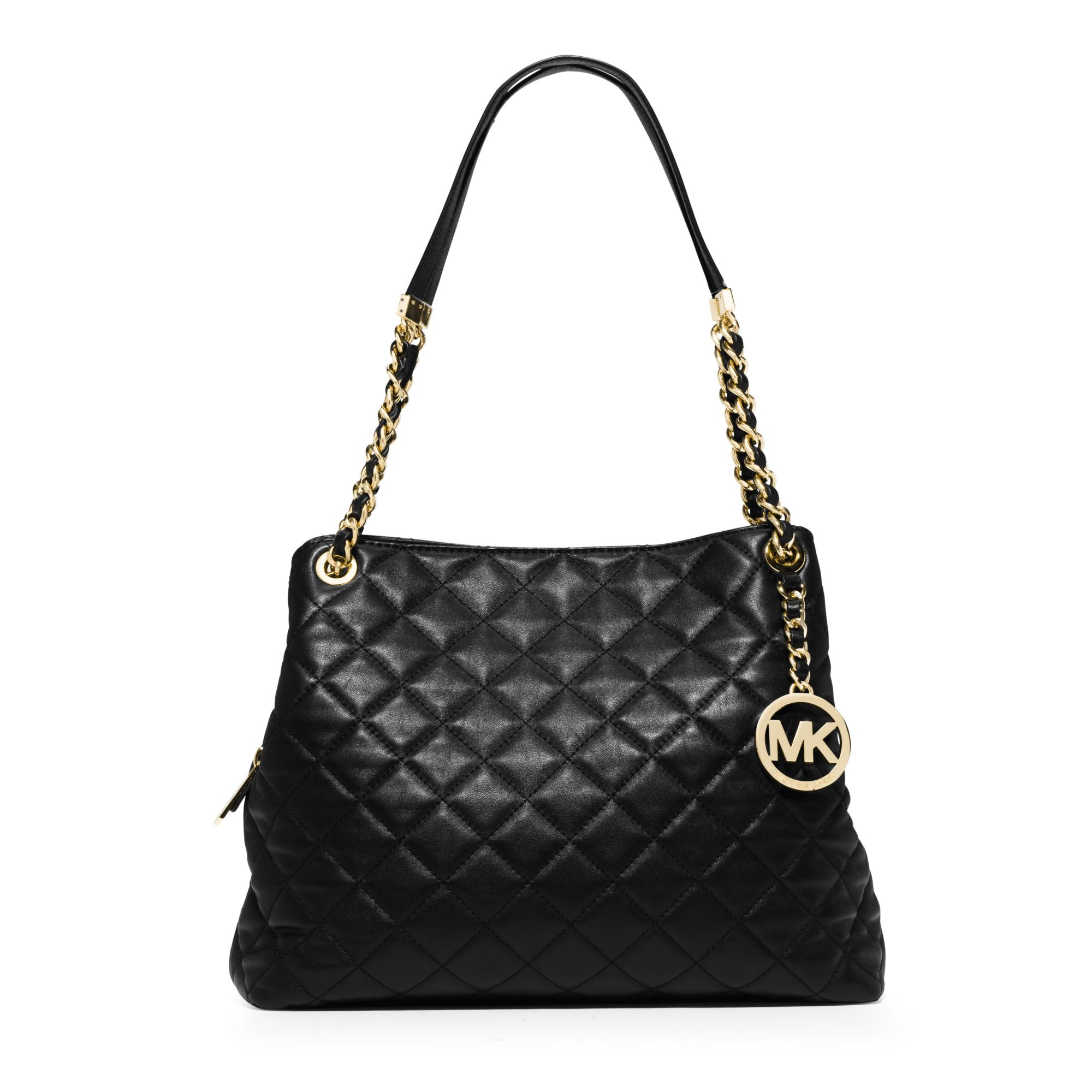 Michael kors Susannah Large Quilted-Leather Shoulder Bag in Black ...