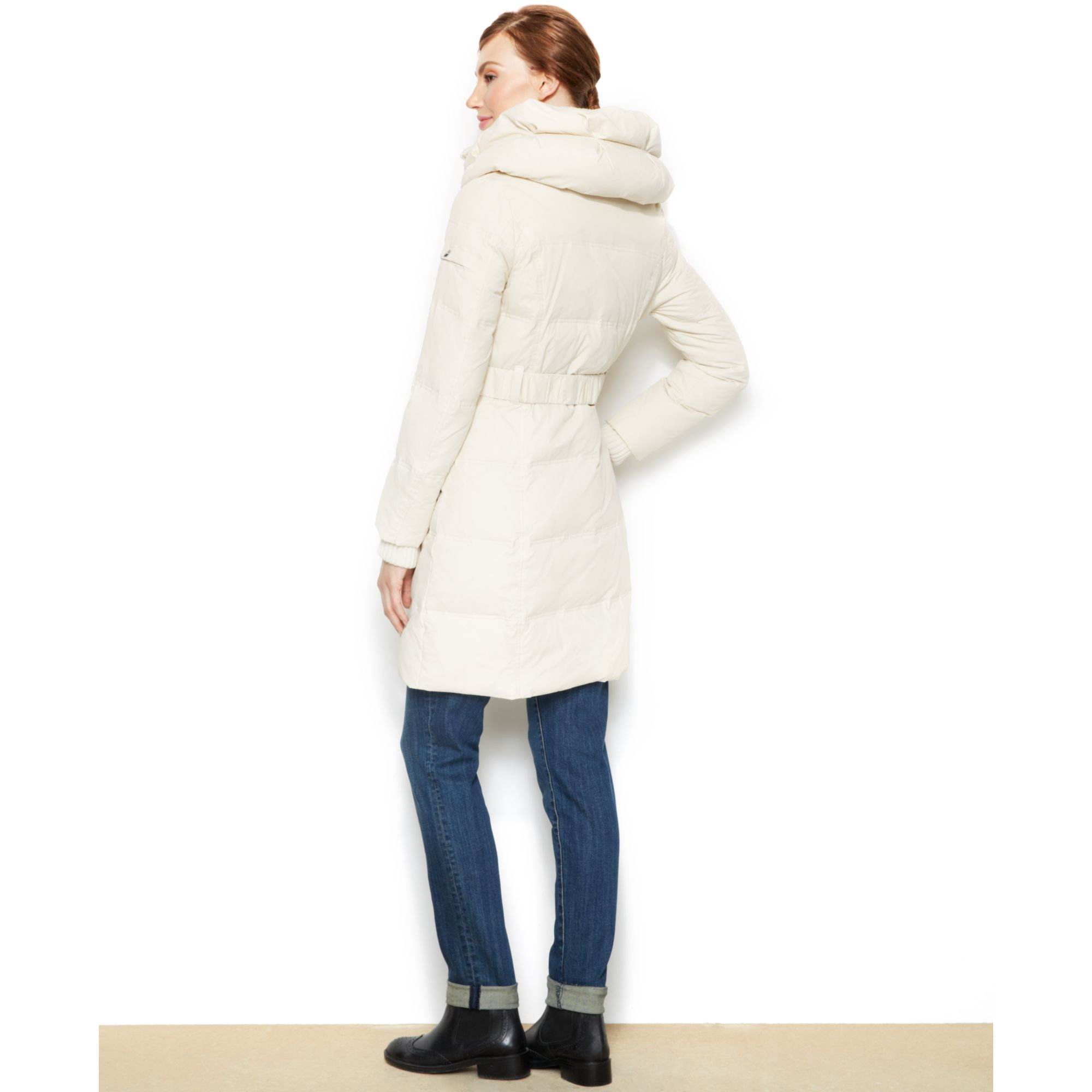 Dkny Belted Quilted Long Length Down Puffer Coat In White