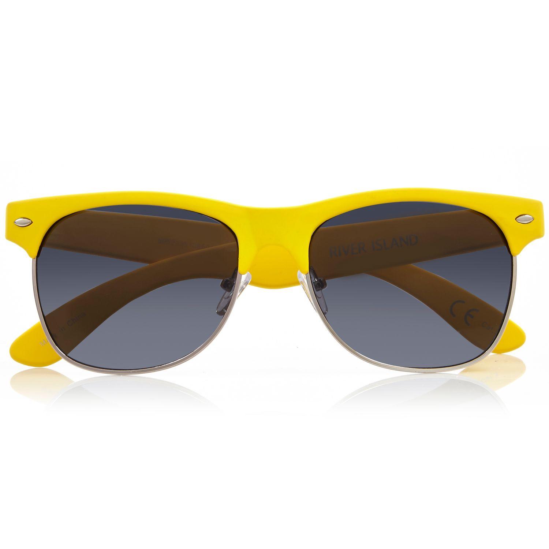 River Island Yellow Chunky Flat Top Sunglasses In Yellow