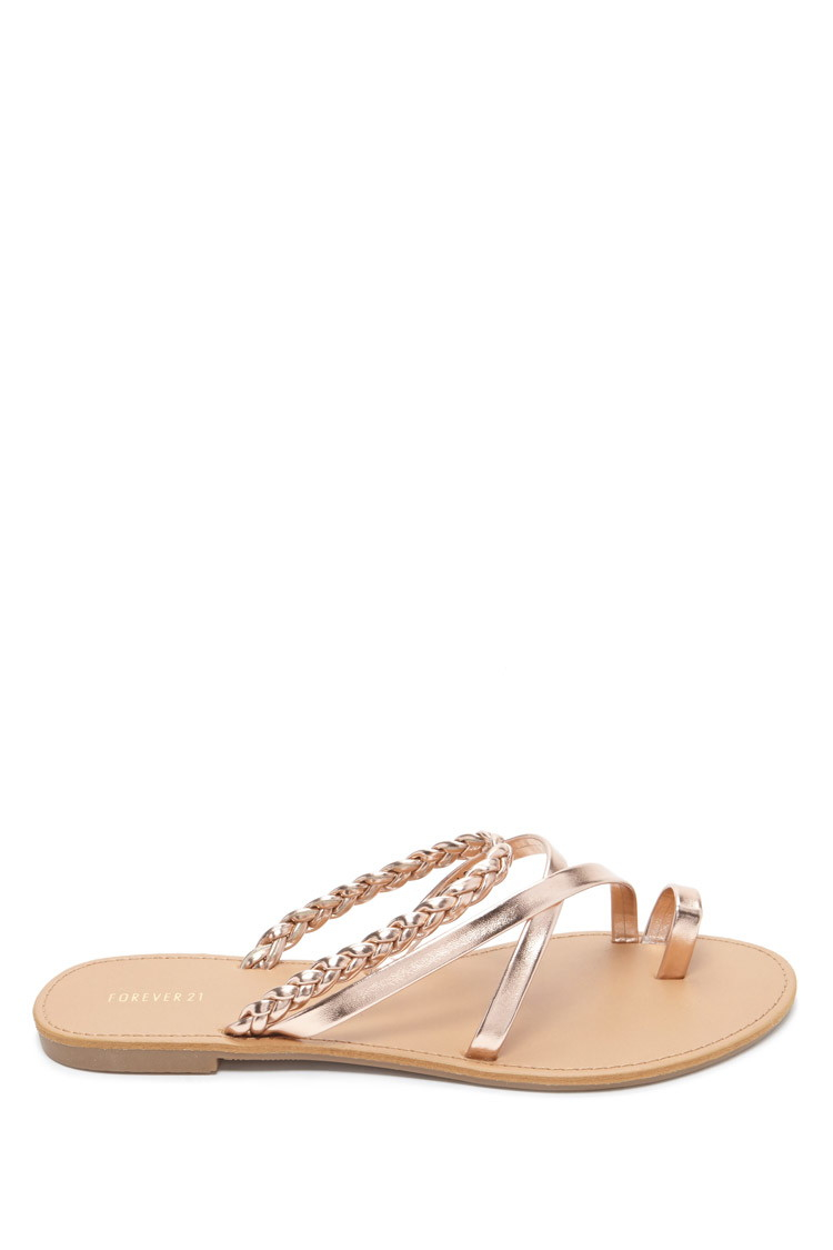 Lyst - Forever 21 Metallic Faux Leather Sandals in Pink 0dfafb1152ab