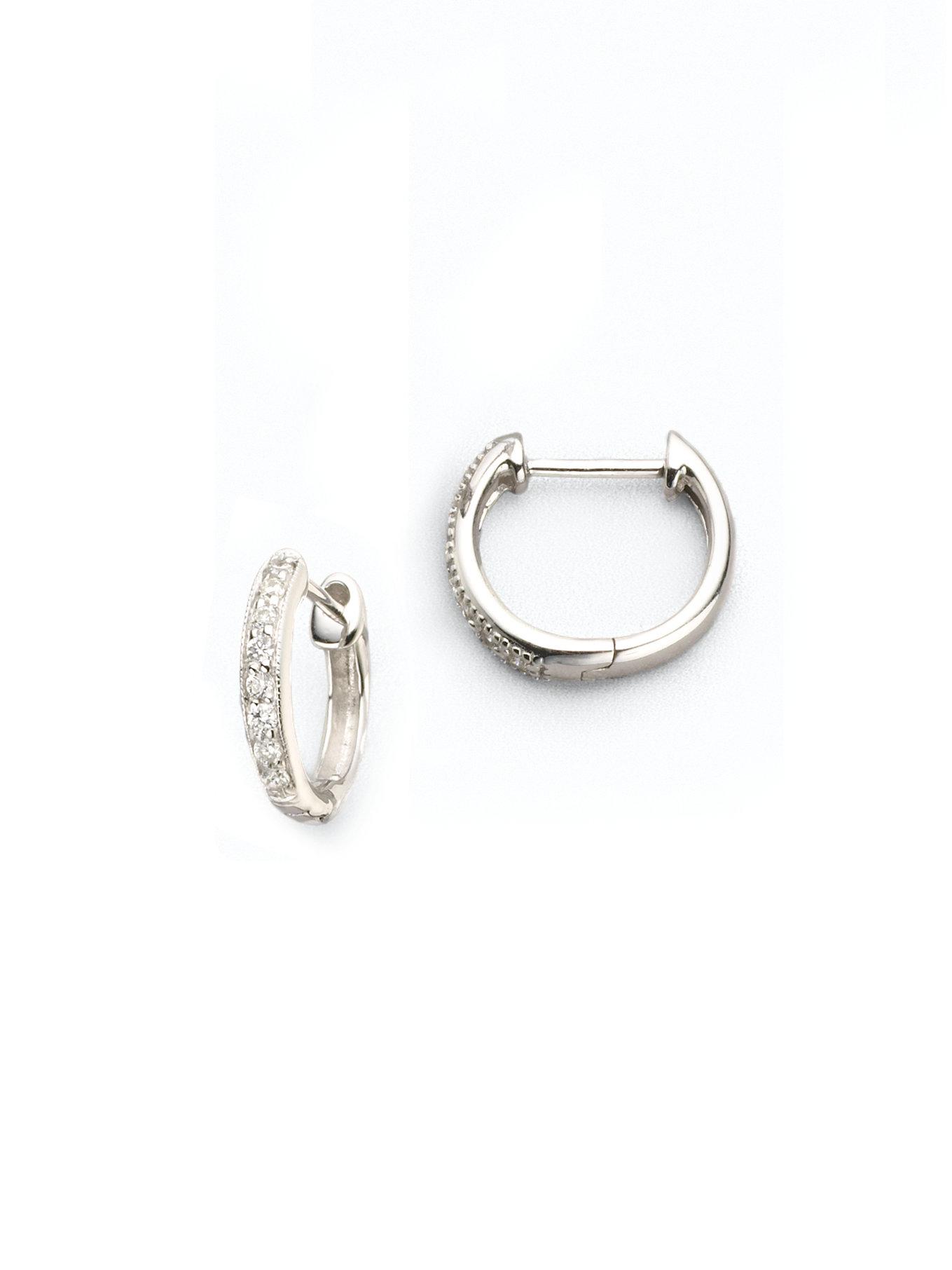 Jude frances Classic Diamond & 18k White Gold Huggie Hoop Earrings