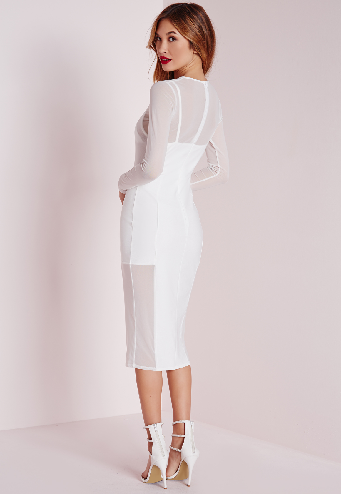 Lyst Missguided Long Sleeve Mesh Midi Dress White In White
