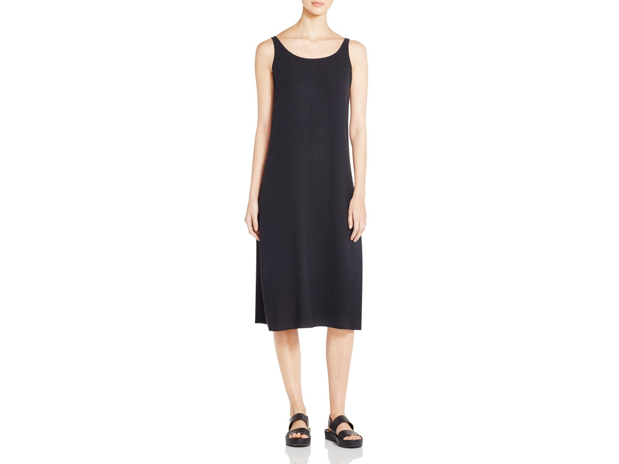 d0f58793b37d78 Lyst - Eileen Fisher Scoop Neck Silk Tank Dress in Black