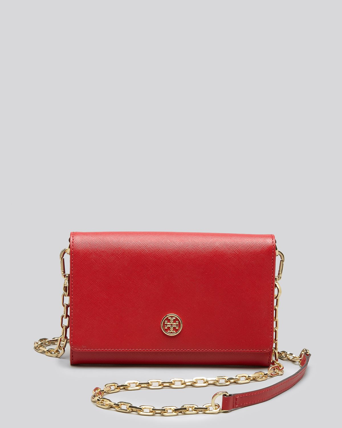 56a49cec6e3 Tory Burch Crossbody Robinson Metallic Wallet On A Chain in Red - Lyst