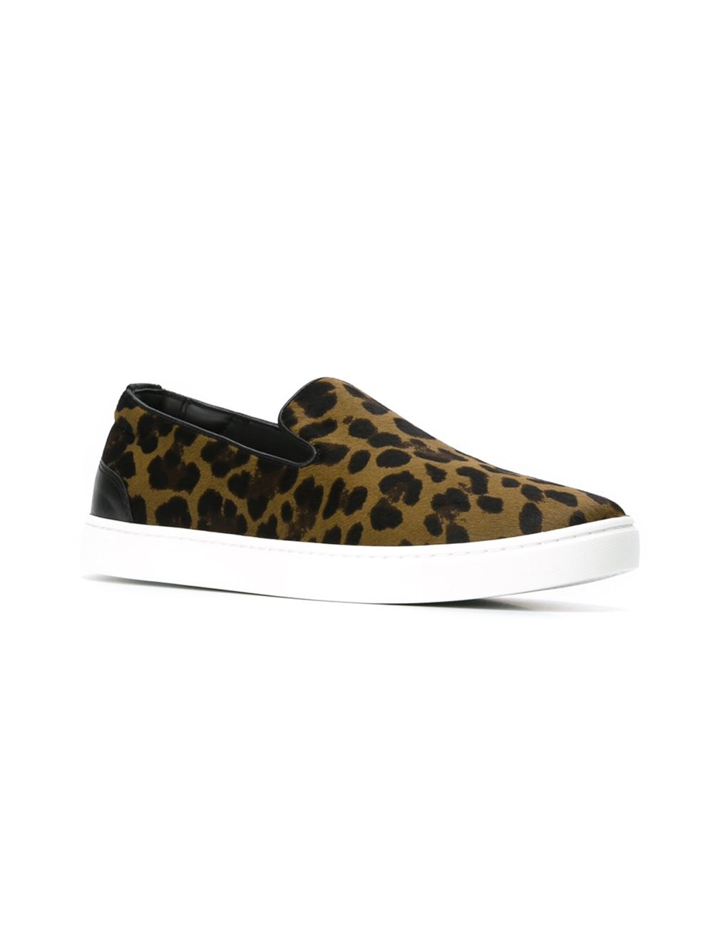 dolce gabbana leopard print slip on sneakers in green for men lyst. Black Bedroom Furniture Sets. Home Design Ideas