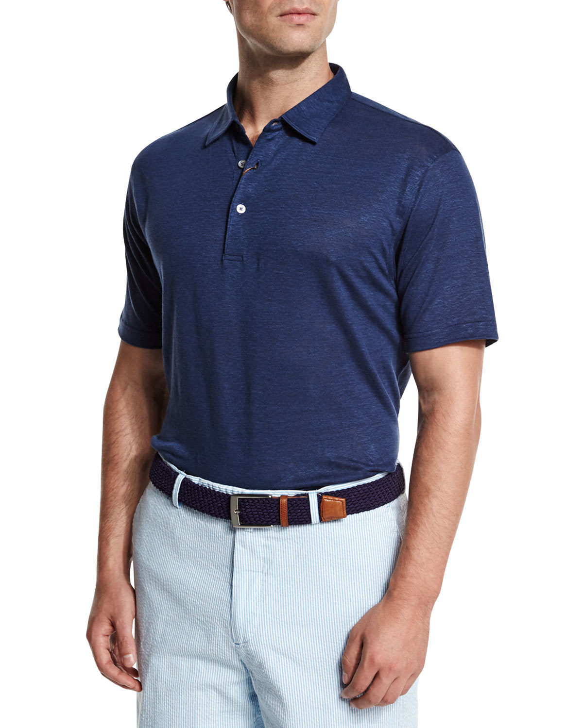 peter millar summertime linen short sleeve polo shirt in