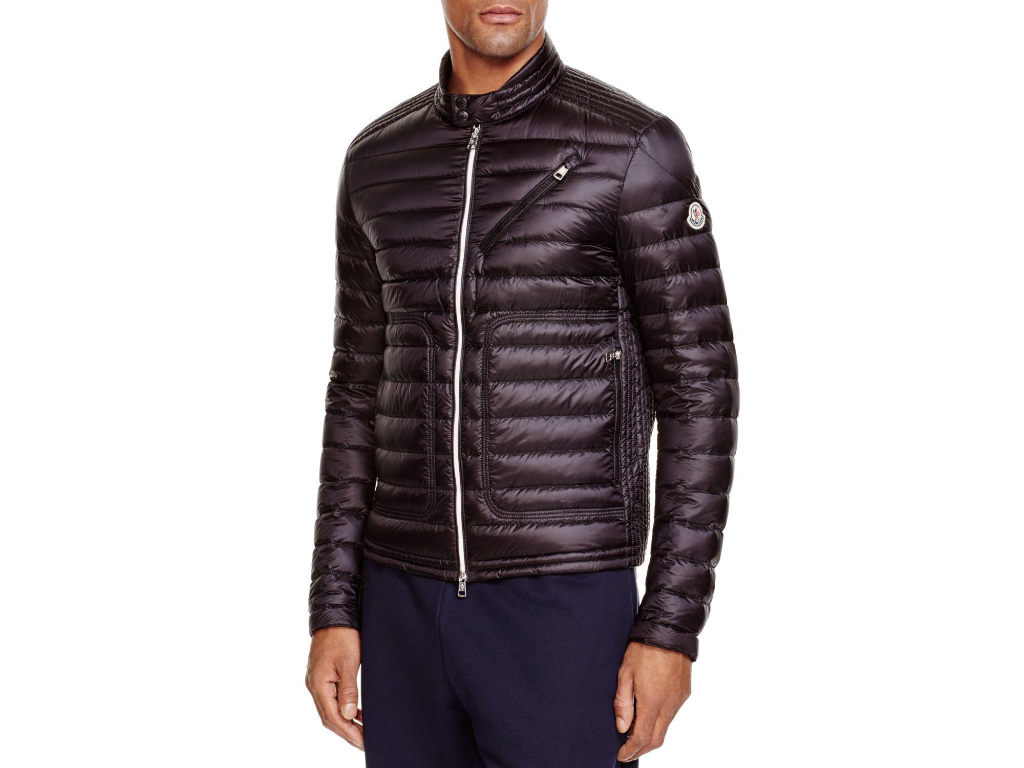 41771040a Lyst - Moncler Picard Moto Down Jacket in Black for Men